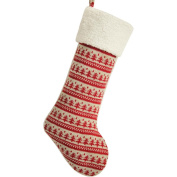 SORRENTO Nordic Chunky Knitted Body,Sherpa Cuff High Quality,Christmas Stocking-25cm x 48cm -Red