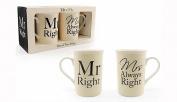 """MR.RIGHT & MRS. ALWAYS RIGHT"" BONE CHINA MUGS Wedding Gift"