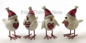 Christmas Resin Heart Bird With Hat Xmas Red White Robin Chic Shabby Decoration