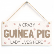 A Crazy Guinea Pig Lady Lives Here - Super Cute Home Accessory Gift Sign