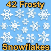 42 Snowflake Window Clings 2D Frosty Design by Articlings® - Quick & Simple Christmas Decorations - Glueless PVC Stickers