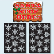 Santa Stop Here Window Cling Sign with 28 Elegant Snowflake Window Stickers - Quick & Simple Christmas Decorations - Glueless Vinyl Stickers