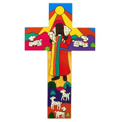 Wall Hanging Cross 10cms. Christ The Good Shepherd. Lovely First Holy Communion Gift.Colourful Cross. Hand Painted Cross.