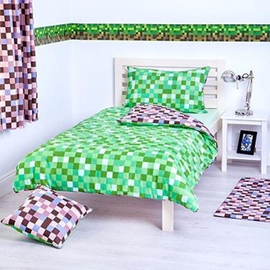 Green & Brown Pixels Design Bedding Single Duvet Cover Set with Pillow Case