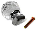 10 x Beautiful Crystal Glass Clear Cupboard Door / Drawer Knobs 30mm Drawer Kitchen Silver