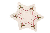 2 STAR SHAPE 8 INCH (20CM) EMBROIDERED MATS CREAM WITH GREEN HOLLY AND RED / GOLD DETAIL