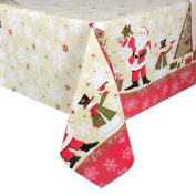 Cream Santas Wipe Clean PVC Vinyl Tablecloth Table Cover Protector 140x240cm