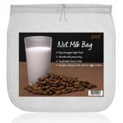 AMOS Nut Milk Bag Super Strong Eco-friendly Reusable Food-Grade 200 Microns Fine Mesh Nylon Homemade Organic Almond Soya Oat Hemp Coconut Milk Maker Strainer Filter