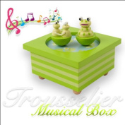 Childs Wooden Musical Box with Dancing Frogs