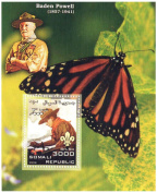 Butterfly souvenir sheet celebrating Baden Powell the founder of the Scout Movement / 1 stamp 3000 Somali Shilling / Somalia / 2006 MNH