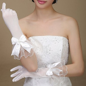 Exquisite Tulle Pearl Bowknot Bridal Gloves