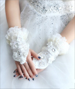 Exquisite Fingerless Lace Rhinestone Sequins Bridal Gloves