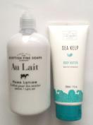 Scottish Fine Soaps Beauty Bundle - 2 Items - Au Lait Hand Lotion and Sea Kelp Body Butter