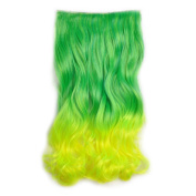 Awbin 60cm Peacock Green Gradient to Yellow Colour Ombre Curly Curl Wavy Full Head Clip in Hair Extension