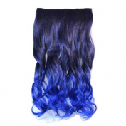 Awbin 60cm Black to Sapphire Blue Ombre Curly Curl Wavy Full Head Clip in Hair Extensions
