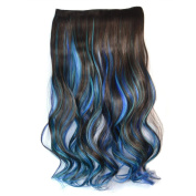 Awbin 60cm Dark Brown Sky Blue and Sapphire 3 Mixed Colour Curly Curl Wavy Full Head Clip in Hair Extension
