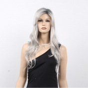 STfantasy 60cm Sexy Long Straight Light Grey Full Wig for White Women