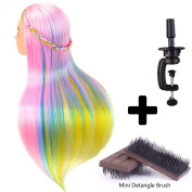 60cm Cosmetology Mannequin Head 100% Synthetic Hair Rainbow Colour, Practise Training Hair Styling Mannequin Head with Table Clamp Holder and Mini Detangling Brush