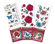 6 Packs Beautiful Temporary Tattoo Book, Temporary Tattoo Book, Butterfly Flower Cartoon Tattoos for Girls
