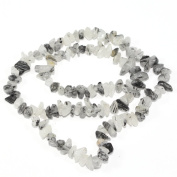 "AAA Natural Black Quartz Rutilated Gemstones Smooth Chips Beads Free-form Loose Beads ~8x5mm beads for Jewellery Making (1 strand, ~16"") GZ1-9"