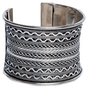 Sitara Collections SC9083 Silver-Plated Braided Cuff Bracelet