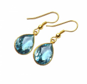 Sitara Collections SC10333 Gold-Plated Concave Cut Hydro Glass Earrings, Blue