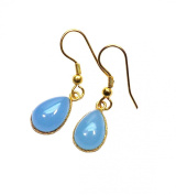 Sitara Collections SC10335 Gold-Plated Blue Chalcedony Earrings