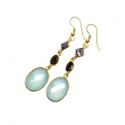 Sitara Collections SC10339 Gold-Plated Aqua Chalcedony and Amethyst Drop Earrings