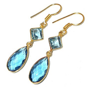 Sitara Collections SC10321 Blue Topaz Gold-Plated Hydro Glass Earrings
