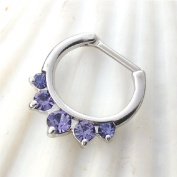 SEPTUM CLICKER Nose Ring, PALE Purple Amethyst opalite stones, stainless steel bar, 16 gauge, nose ring, body piercing