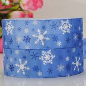 5 Yards 2.2cm Blue Snowflake Cartoon Printed Christmas Ribbon DIY Party Decoration Grosgrain Ribbon
