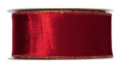 FloristryWarehouse Wine Red Christmas Velvet fabric ribbon 5.1cm wide x 9 yards roll Gold Wired edge