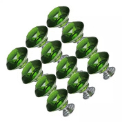 CSKB 12 PCS Green 30mm Crystal Glass Diamond Cut Door Knob Drawer Cabinet Furniture Handle for Cupboard, Kitchen and Bathroom Cabinets, Shutters, etc