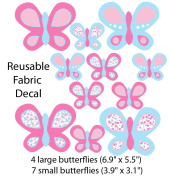 Pink and Blue Butterfly Wall Decals for Baby Nursery, Large Butterflies