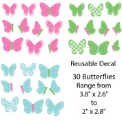 Pink and Blue Butterfly Decals for Kids Room, 30 Butterflies