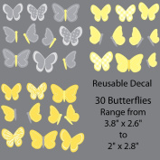 Yellow and Grey Butterfly Decals for Baby Nursery, 30 Butterflies