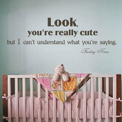 Baby Nursery Wall Decal Finding Nemo Wall Quote Nursery Wall Sticker Wall Phrase Wall Words Wall Graphic Home Art Decor -Look you're really cute but I can't understand what you're saying Black