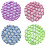 Crochet Snood Net Bun Cover with 30 Rhinestones 4pcs Colour Pack