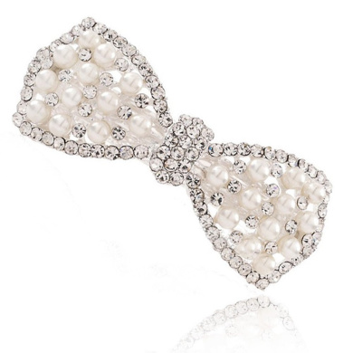 Beyend White Women's Fashion Pearl Bow tie Hair Clip Head Wear BE-25