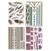 Fun of Jewellery Metallic Golden and Silver Temporary Tattoo Fake Tattoo Waterproof Non-toxic Tattoo Stickers Assorted Set of 4 Pcs