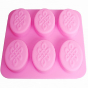 X-Haibei Chinese Knot Pattern Oval Soap Glossy Silicone Mould 6-Cavity for Homemake