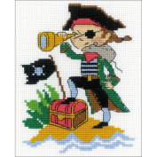 Brave Pirate Counted Cross Stitch Kit-13cm x 16cm 14 Count