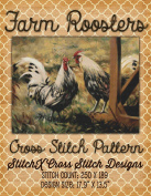 Farm Roosters Cross Stitch Pattern - Cross Stitch Design only