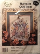 Cat and Tulips Stamped Cross Stitch Kit #20432