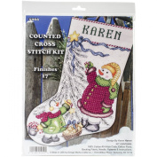 Christmas Tree Snowman Stocking Counted Cross Stitch Kit-43cm Long 14 Count
