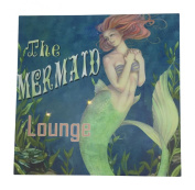 Mermaid Lounge Sign Canvas Wall Art with LED Light - 30cm Square