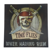Pirate Skull and Crossbones Sign Canvas Wall Art with LED Light - 30cm Square