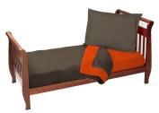 Baby Doll Solid Reversible Toddler Bedding Set, Brown/Orange