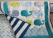 Baby Neutral Ocean Whale Crib Bedding Set - Quilt