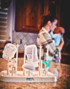 Bottle Drying Rack by Zoomy Baby, White - For drying and storage of baby bottles, breast pump supplies, and baby accessories. Includes bottle brush and nipple brush.